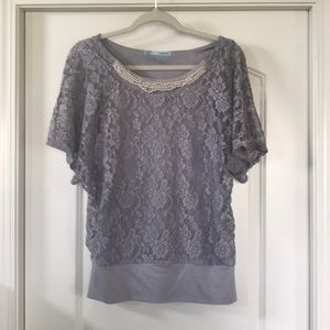 Gray Lace flutter sleeve top